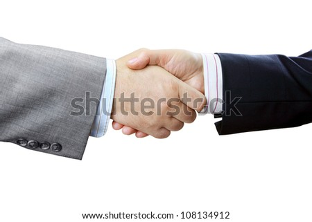 Closeup of Businessmen and Businesswoman Shaking Hands on White Background