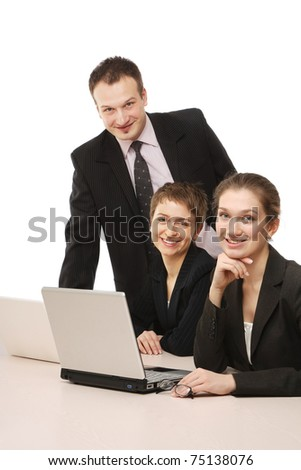 Closeup of businesspeople looking up, from above - stock photo