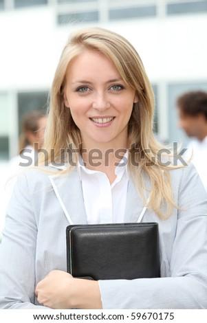 Closeup of businesswoman - stock photo