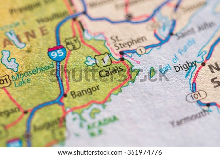 Closeup of Calais on a geographical map. - stock photo