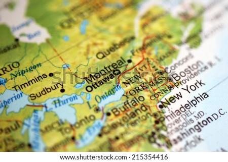 Closeup of Canada's Capital Ottawa on a world globe. Note deliberate shallow depth of field - stock photo