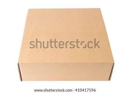 Closeup of cardboard box isolated on white background   - stock photo