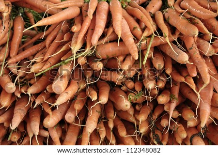 Closeup of carrots produce
