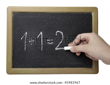 closeup of chalkboard and simple math addition on white background with clipping path - stock photo