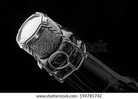 Closeup of champagne bottle and cork - stock photo