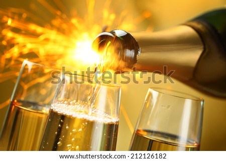 Closeup of champagne explosion.  - stock photo