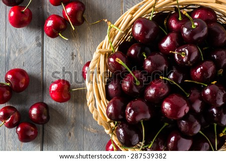 Closeup of cherries in a basket. - stock photo