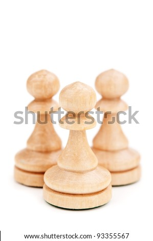 closeup of chess pawns isolated on a white background - stock photo