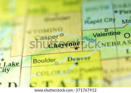 Closeup of Cheyenne, Wyoming on a political map of USA.