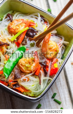 Closeup of chinese mix vegetables and rice noodles - stock photo