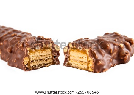 Closeup of chocolate bars isolated on white  - stock photo
