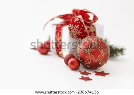 Closeup of christmas gift box decoration isolated