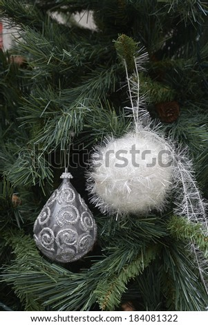 Closeup of Christmas ornaments on the Christmas tree
