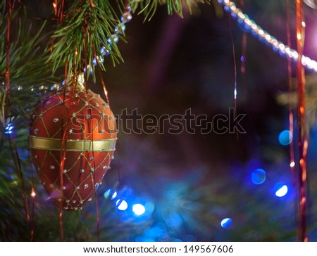 Closeup of Christmas-tree decorations