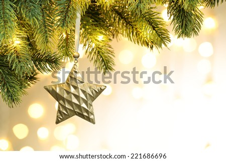 Closeup of Christmas tree decorations - stock photo