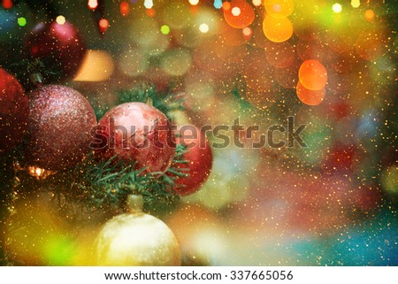 Closeup of Christmas-tree decorations. Christmas background. - stock photo