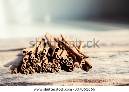 Closeup of cinnamon and star anise seeds on a wooden background. Sunny still life photo. Shallow depth of field - stock photo
