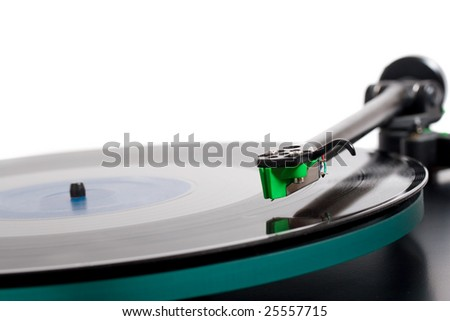 closeup of classic model of turntable - stock photo