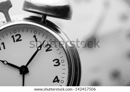 Closeup of classical alarm clock - stock photo