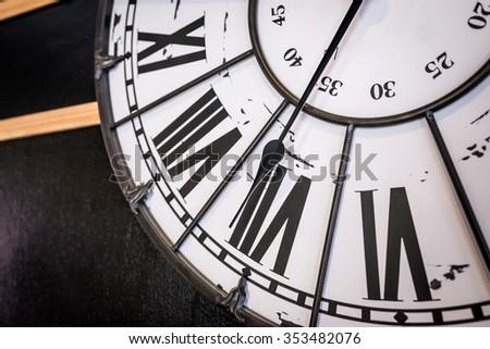 Closeup of classical clock, Roman numerals clock - stock photo
