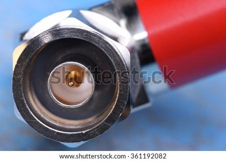 Closeup of coaxial connector - stock photo