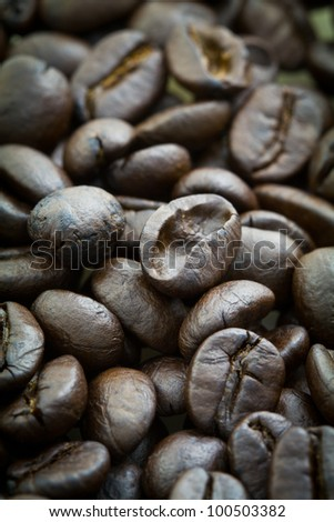 Closeup of coffee beans can be used for background