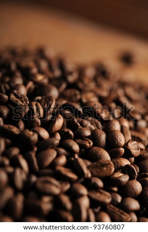 closeup of coffee beans, shallow deep of field
