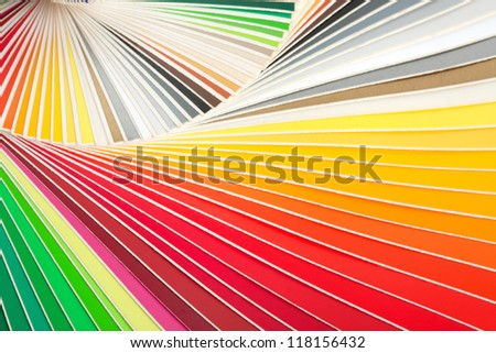 Closeup of color palette guide - stock photo