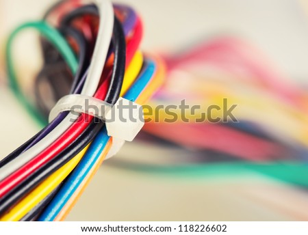 Closeup of colorful electrical cables - stock photo