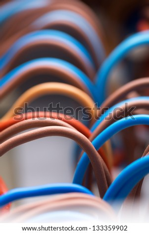 Closeup of colorful electrical wires - stock photo
