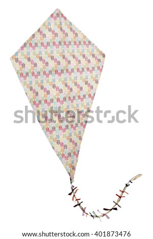 Closeup of colorful kite isolated on white background - stock photo