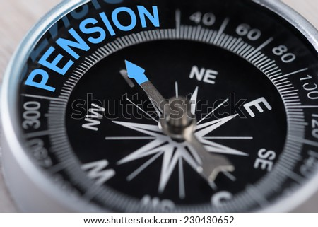 Closeup of compass indicating Pension direction. Concept Shot - stock photo