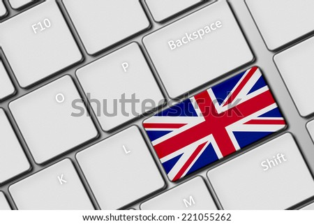 closeup of computer keyboard with british flag button - stock photo
