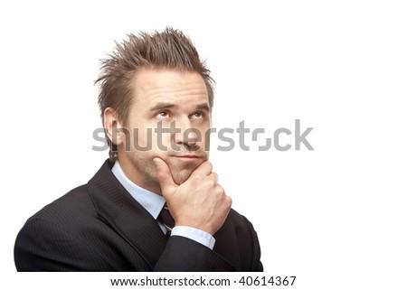 closeup of contemplative businessman on white background - stock photo