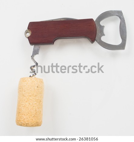 closeup of corkscrew and cork - stock photo