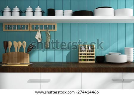 Closeup of counter and kitchen Accessories - stock photo