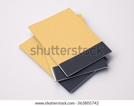 Closeup of craft blank notebooks on the white background. 3d render - stock photo