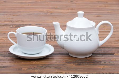 Closeup of cup of tea on vintage wooden background