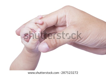 Closeup of cute baby hand holding father's finger, isolated on white background - stock photo