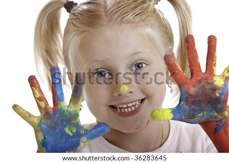 closeup of cute girl which has made a hand painting session - stock photo