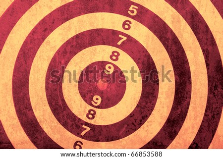closeup of dart game board - vintage background - stock photo
