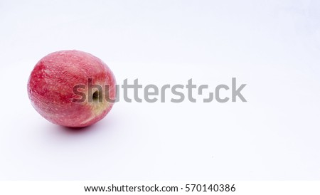 Closeup of delicious apples on a white background.Selective focus