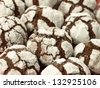 Closeup of delicious chocolate cookies with icing sugar - stock photo
