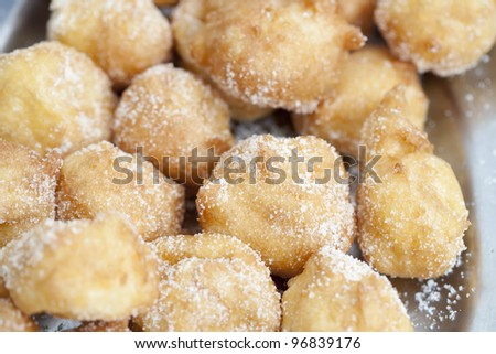 Closeup of delicious fritters with sugar lent - stock photo