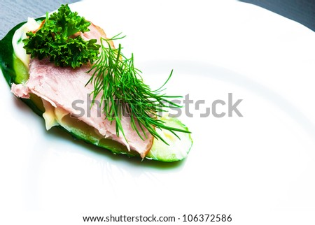 Closeup of delicious ham and cucumber canapes sandwiches with parsley lying on a white plate. - stock photo