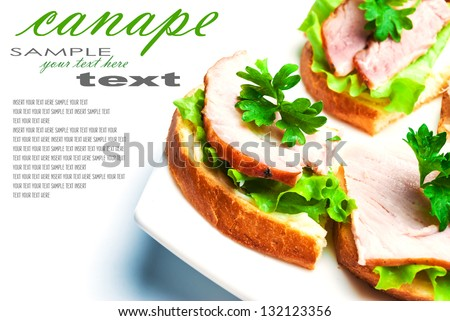 Closeup of delicious ham and salad canapes sandwiches with parsley lying on a white plate (with removable text). Horizontal composition. - stock photo