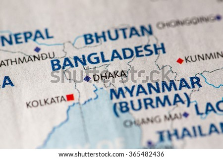 Closeup of Dhaka, Bangladesh on a political map of Asia. - stock photo