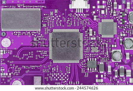 Closeup of dirty electronic circuit board