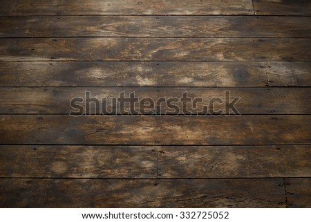 Closeup of Distressed Wood Plank Floor - stock photo