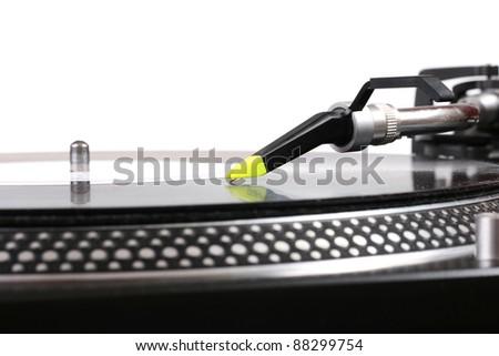 closeup of dj turntable - stock photo